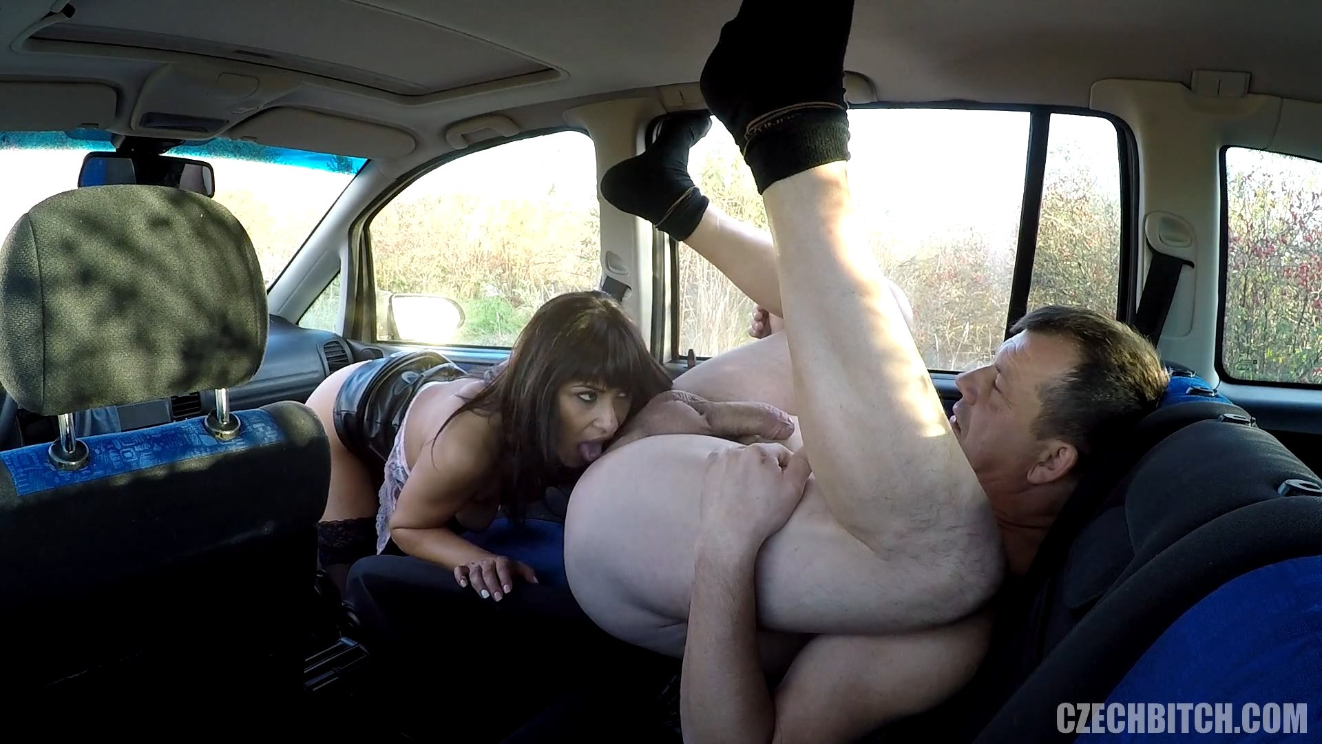 Hot sex in a taxi