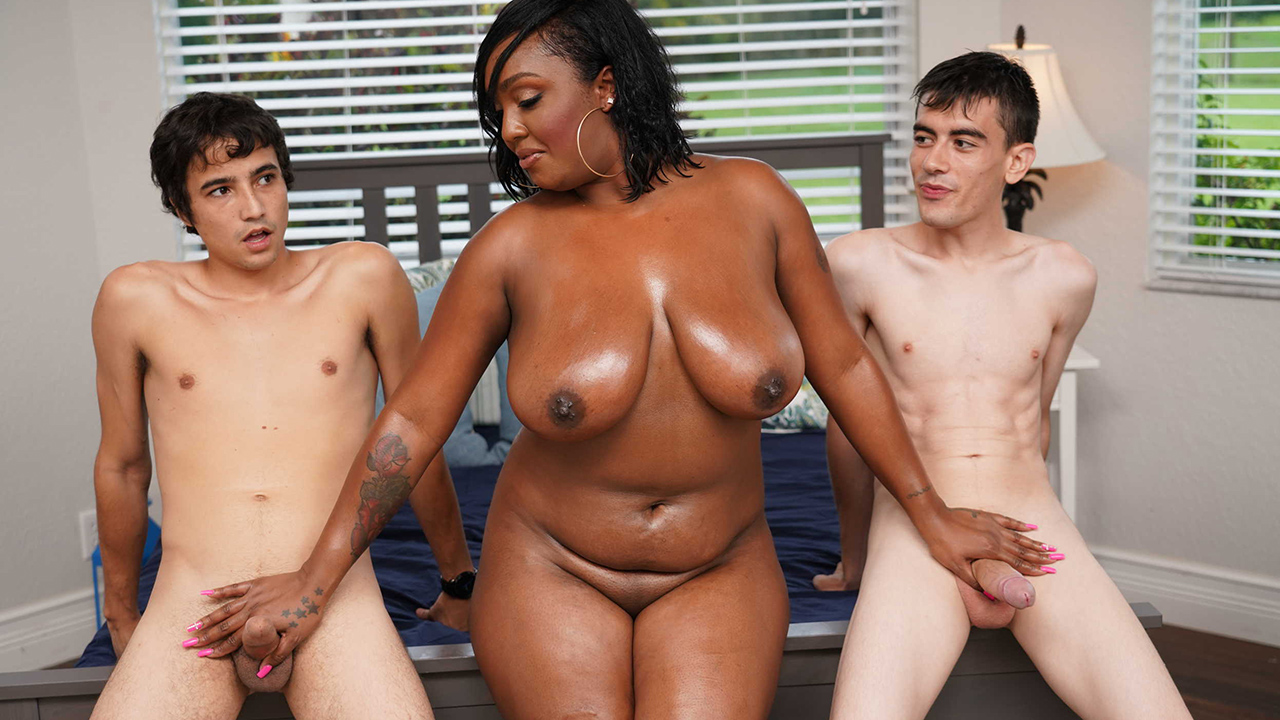 Ebony mom and daughter fucked by daughter's bf and friend